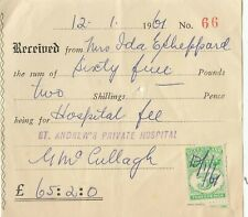 Stamp Queensland 3d duty revenue issue 1961 St Andrew's Private Hospital receipt