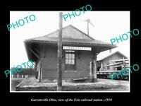 OLD LARGE HISTORIC PHOTO OF GARRETTSVILLE OHIO, ERIE RAILROAD STATION c1910 1
