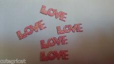 Lot of 50pcs - Pink Glitter LOVE appliques - Scrapbooking, Cards etc