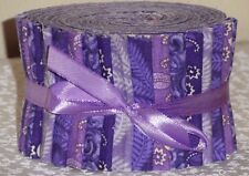 "Jelly Roll Quilting Fabric Strips  Purple, Lavender Cotton 20~2.5"" Sewing New"