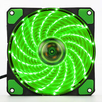 New 3-Pin/4-Pin 120mm PC Computer Case CPU Cooler Cooling Green 15-LED Light Fan