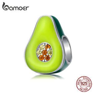 BAMOER European DIY Charm Green Enamel Avocado S925 silver Fit Bracelet Jewelry
