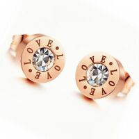 "18K Rose Gold Plated Ear Studs Stainless Steel ""Love"" CZ Inlaid Women's Earrings"