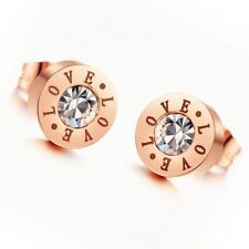 """18K Rose Gold Plated Ear Studs Stainless Steel """"Love"""" CZ Inlaid Women's Earrings"""