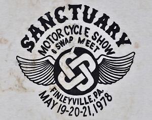 Vintage 70s 1978 SANCTUARY MOTORCYCLE SHOW Biker Club T SHIRT Thrashed Burnout