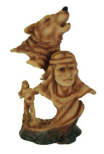 Howling Wolf With Native American Warrior Carved Wood Look Bust Statue