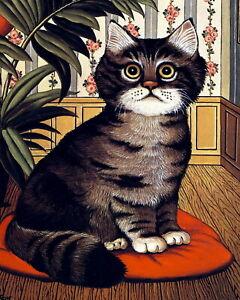 TOMCAT Tiger Stripped TABBY CAT Art Print Kitten Red Cushion Pillow Craft Gift
