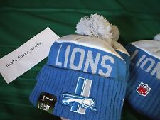 Detroit Lions New Era knit pom hat beanie 2015-16 NFL On Field Throwback Classic