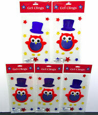 GEL CLINGS (LOT OF 5) 4TH OF JULY Top Hat Owl STARS WINDOW DECOR (5) Sheets NEW