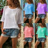 Mode Femme d'été Shirts Décontracté Manches Longue Col Rond Chemisers Hauts