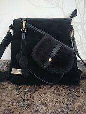 UGG Australia Black Suede Sheepskin bag crossbody shoulder handbag
