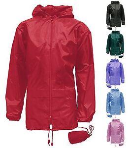 New Kids Girls Boys Kag In A Bag Rain Kagool Lightweight Showerproof Coat