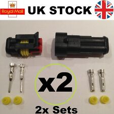 Pack of 2x 2 Way pin Superseal Waterproof Connector Sets for car boat machinery
