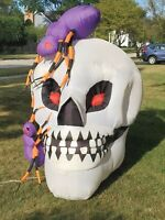Gemmy 6' Tall Halloween Light Up Skull and Spider Airblown Inflatable Blow-Up