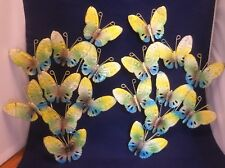 "Vtg Metal Butterflies Wall Sculpture Art Set Pair 12 3/4x9"" Blue Yellow GreenG30"