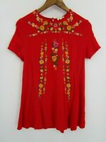 Umgee Women's Red Floral Embroidered Short Sleeve Tunic Top Size M