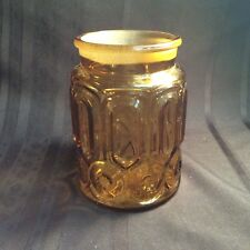 Vintage Canister Jar Moon and Star Pattern Amber Glass ( N 5 ) zz no lid
