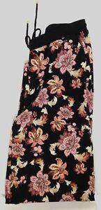 $154 Ralph Lauren Women's Black Floral Print Jersey Wide-Leg Pants Plus Size 1X