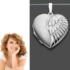 XXL Foto Medaillon Engels Flügel Herz Amulett Bilder Anhänger Silber 925 & Kette