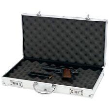 Large Aluminum Padded Storage Pistol Case, Locking Carry Handgun Protector Safe