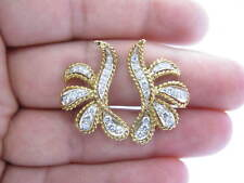 Fine 14Kt Diamond Two Tone Earrings Yellow Gold 1.20CT