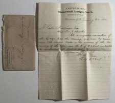 Antique Masonic Letterhead, Castle Hall, Stonewall Lodge #6, Charleston SC, 1883