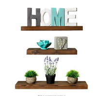 Rustic Farmhouse 3 Tier Floating Wood Shelf - Floating Wall Shelves Set of 3