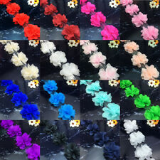 1/5/10 yard Flower Lace Edge Trim Wedding Chiffon Ribbon Applique DIY Craft New