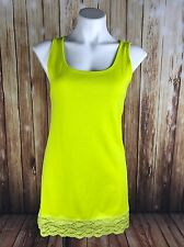 Torrid Plus Size 0 Neon Yellow Ribbed Lace Trim Tank  Top NWT