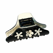 Moliabal Medium Hair Claw in Black W/ Cream Flower Accents MSRP $35