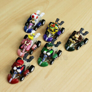 6 Pcs Super Mario Kart Pull Back Car Luigi Toad Bowser Princess Figure Kid Toys