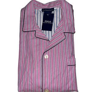 Polo Ralph Lauren Men's Sleep Tops 100% Cotton Pink Striped   Size Large   P858