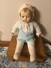 "Antique 24"" Composite Doll: circa 1915: Molded Hair: Doll Stand: Handpainted"