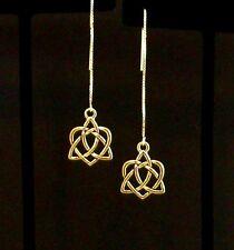 """""""IAJ"""" GOLD gp CELTIC INFINITY HEART 14k GOLD VERMEIL Ear Thread Earrings"""