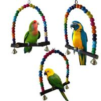 Birds Stand Perch Swing Pet Parrot Durable Beaded Rack Parakeet Budgie Bite Toy
