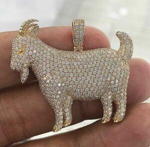 Men's 3 Ct  D/VVS Diamond Goat Shape Pendant Solid 14K Yellow Gold Finish