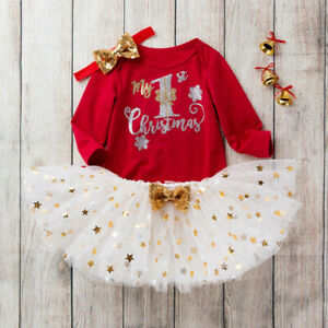 Toddler Baby Kids Girls Christmas Day Romper Tops Tutu Dress Hairband Outfit Set
