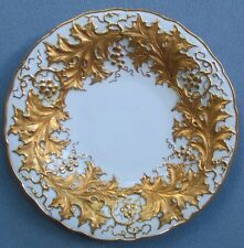 Meissen Blue Crossed Swords LG Deep Plate / Bowl Heavy Gold Leaves and Berries