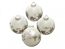 Krebs & Sohn 6390/4 Christbaumkugeln Glas Frost Ice Silber Sterne, Ø6cm, 4 Stück