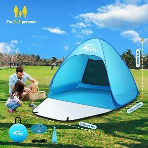 Pop Up Beach Tent Automatic WaterProof UV Protection Sun Shelter 2-3 Man Light