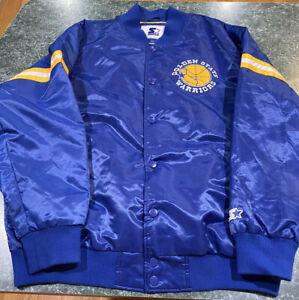 Starter GOLDEN STATE WARRIORS Sewn Snap Button Satin Varsity Jacket Size XXL
