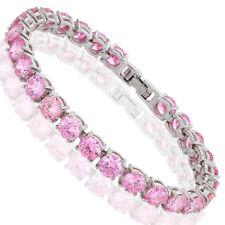 Melina Jewelry Melina Jewelry Round Cut Pink Dainty Tennis Bracelet