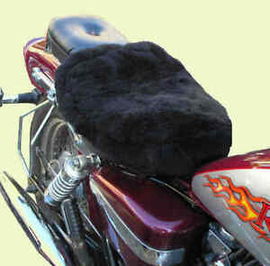 Solo Motorcycle Seat Pad. Patchwork Sheepskin