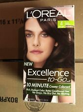 Loreal Excellence To Go 10 Minute Creme Hair Color #4 Dark Brown NEW