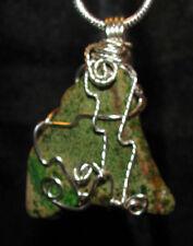 Green Sea Sediment Jasper wire wrap snake chain necklace unique stone pendant