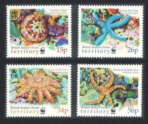 BIOT WWF Sea Stars 4v 2001 MNH SG#253-256 MI#266-269 SC#231-234 CV£7.90