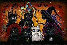 4X6 HALLOWEEN POSTCARD PRINT LE 11/27 RYTA BLACK CAT VINTAGE STYLE FOLK ART FUN