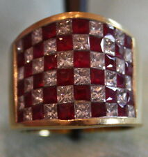 Invisible Set 4.85 Wide Band RUBY & DIAMOND RING 18kt Yellow Gold $9,900 Retails