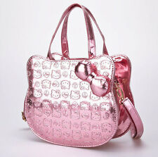 Embroidered hello kitty head purse bag metallic baby light pink peace heart