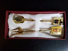 24k gold plated korean folk art tea spoon and fork Set BRIDE & GROOM